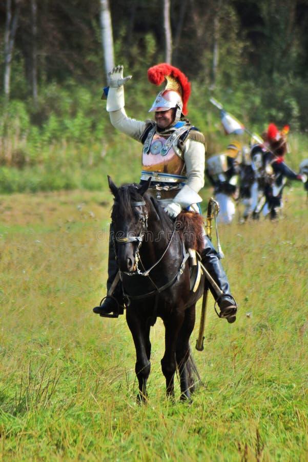Reenactors no reenactment hist?rico da batalha de Borodino em R?ssia foto de stock royalty free