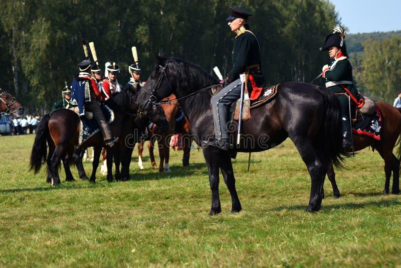Reenactors no reenactment hist?rico da batalha de Borodino em R?ssia fotografia de stock