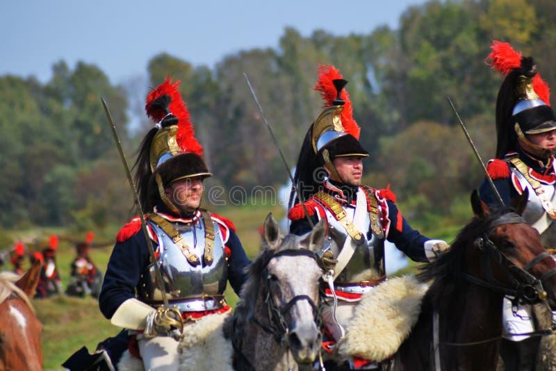 Reenactors no reenactment hist?rico da batalha de Borodino em R?ssia fotos de stock