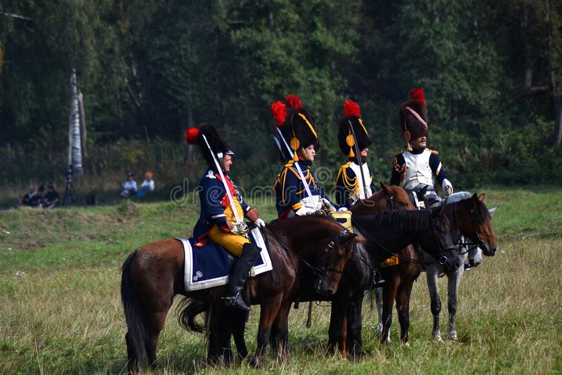 Reenactors no reenactment hist?rico da batalha de Borodino em R?ssia imagem de stock royalty free