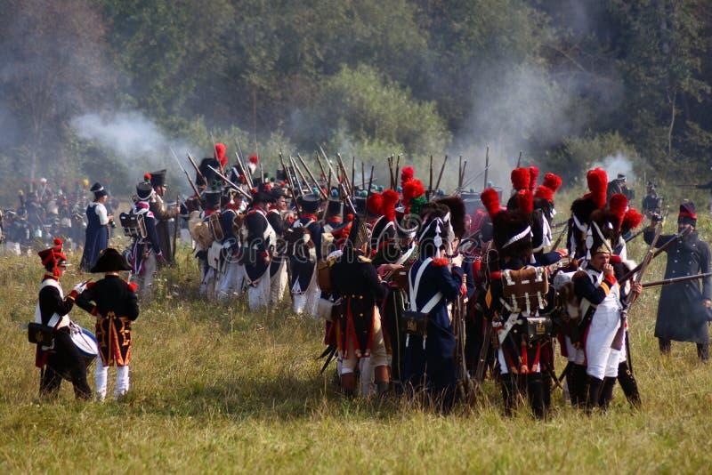 Reenactors no reenactment hist?rico da batalha de Borodino em R?ssia fotografia de stock royalty free