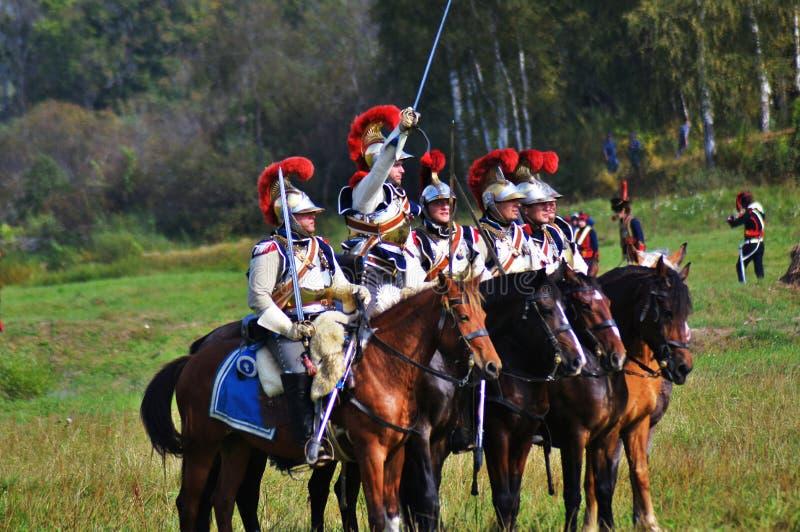 Reenactors no reenactment hist?rico da batalha de Borodino em R?ssia imagem de stock