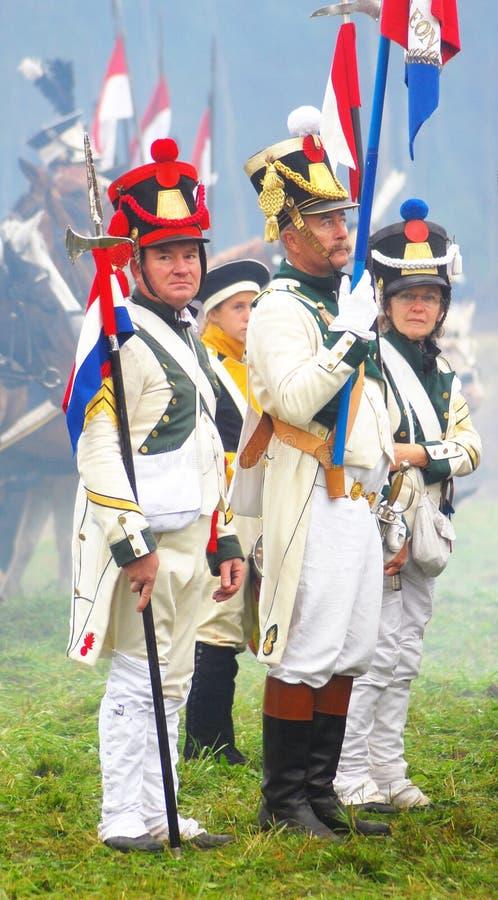 Reenactors se vistió como soldados franceses fotos de archivo