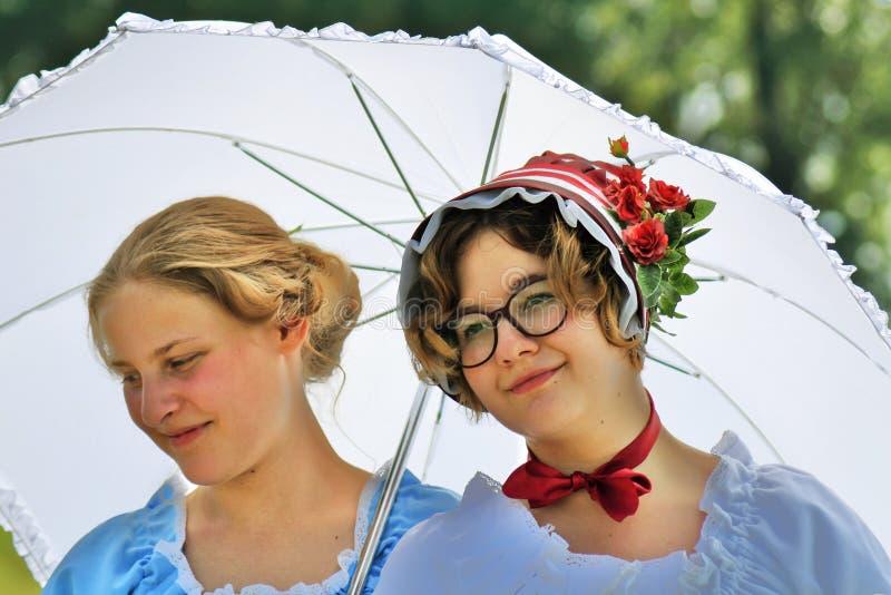 Reenactors women at Borodino battle historical reenactment in Russia. BORODINO, MOSCOW REGION, RUSSIA - SEPTEMBER 01, 2019: Russian beauty. Reenactors women at royalty free stock image