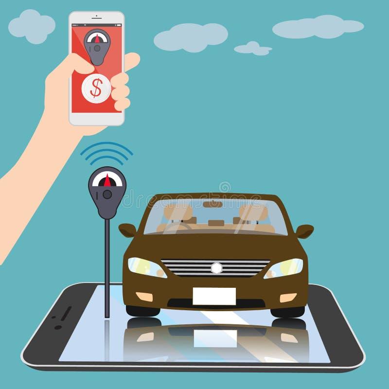 Reenchimento da aplicação de Smartphone no estacionamento ilustração royalty free