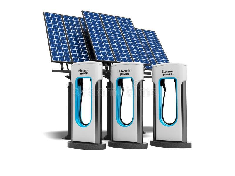 Reenchimento do verde do conceito eletro com painéis solares 3d para render no whit ilustração do vetor