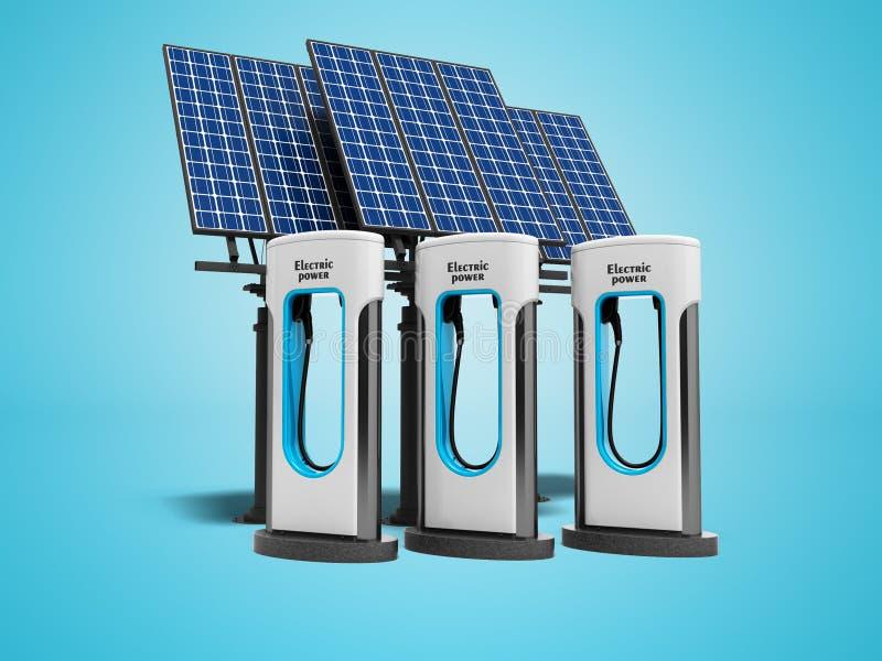 Reenchimento verde do conceito eletro com painéis solares 3d para render no azul ilustração do vetor