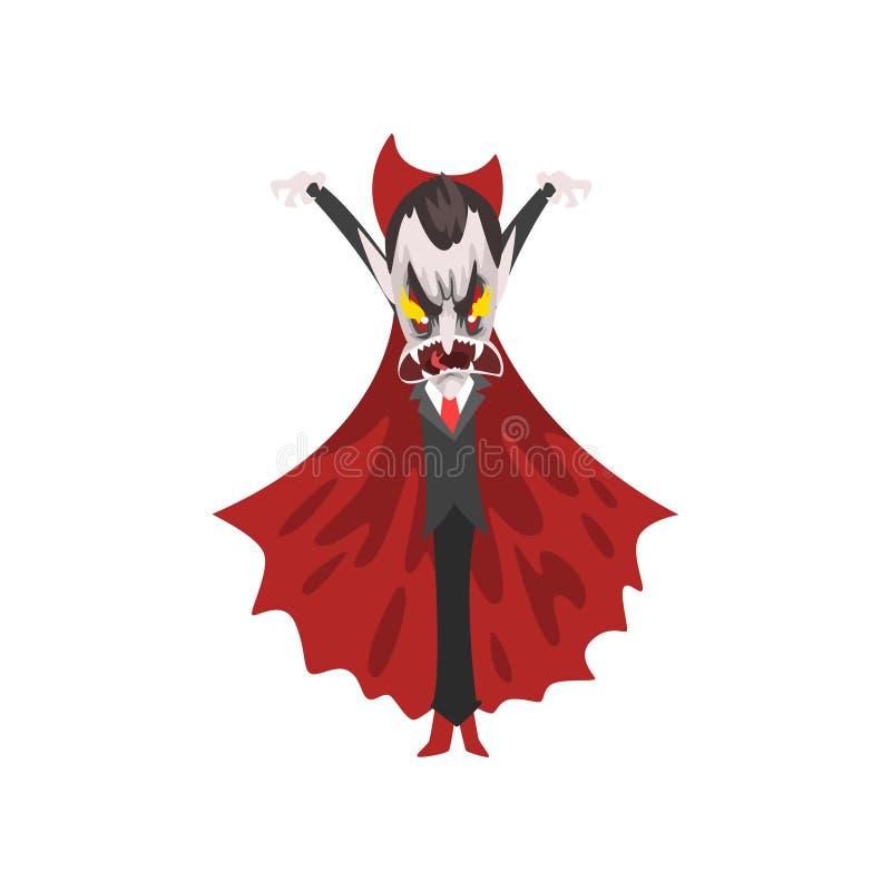 Reepy rasande räkning Dracula med brinnande ögon, vampyrtecknad filmtecken som bär i en röd uddevektorillustration på a stock illustrationer