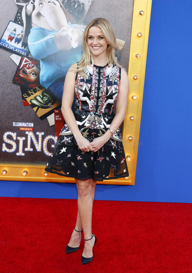Reese Witherspoon. At the Los Angeles premiere of `Sing` held at the Microsoft Theater in Los Angeles, USA on December 3, 2016 royalty free stock photos