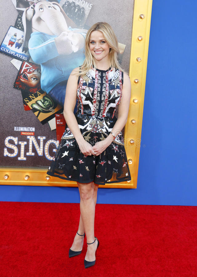 Reese Witherspoon. At the Los Angeles premiere of `Sing` held at the Microsoft Theater in Los Angeles, USA on December 3, 2016 stock images