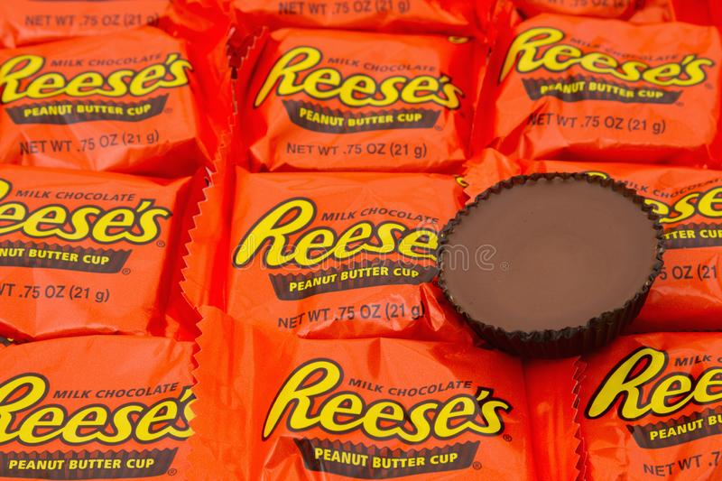 Editorial use only Reeses Peanut Butter Cup Candy Background. SC, USA Oct 2016. Illustrative editorial image of Reeses Peanut Butter Cup Candy Background. Peanut stock image