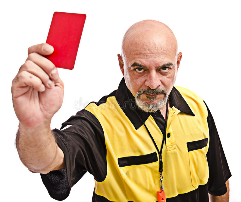 The ref. Isolated referee show red card royalty free stock images