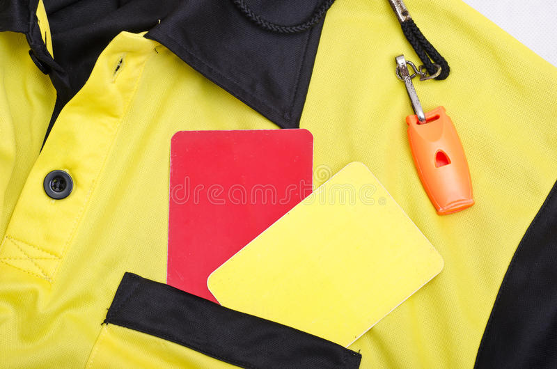 Ref still life. Referee still life objects, whistle, shirt and cards royalty free stock images
