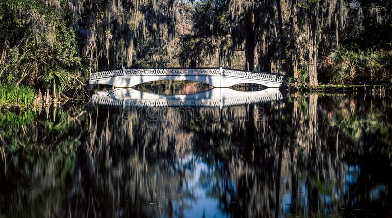 Refection van een houten brug stock afbeelding