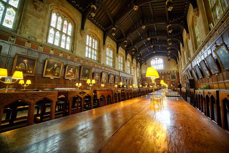 Refectorio (Apuesta-Pasillo) Iglesia de Cristo Universidad de Oxford inglaterra foto de archivo libre de regalías