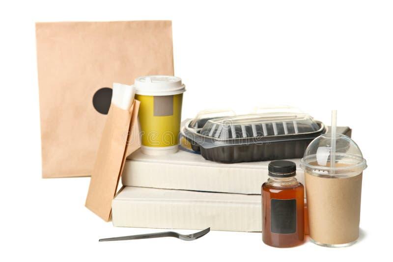 Refeição da embalagem nos sacos e nas cesta de comida foto de stock