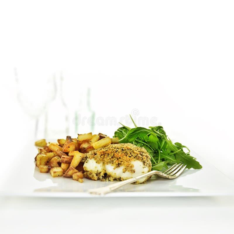 Refeição da faixa de peixes do bacalhau foto de stock royalty free