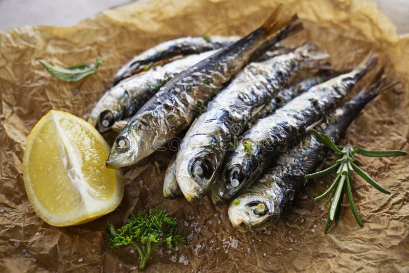 Refeição de Fried Sardines fotografia de stock