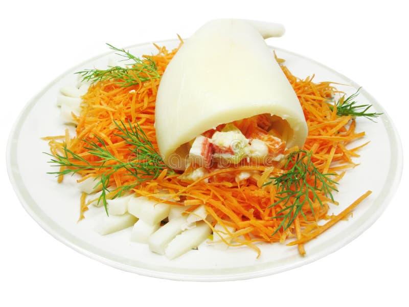 Refeição do calamar com salada da cenoura fotografia de stock