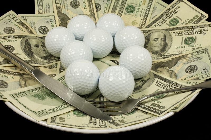 Refeição do dinheiro do golfe imagens de stock royalty free