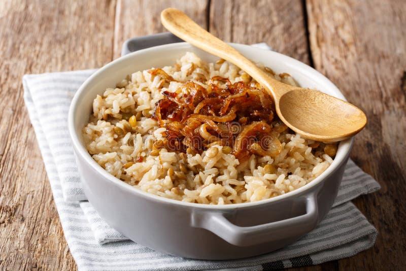 Refeição do vegetariano: Arroz de Mujaddara com lentilhas e cl fritado das cebolas fotos de stock royalty free