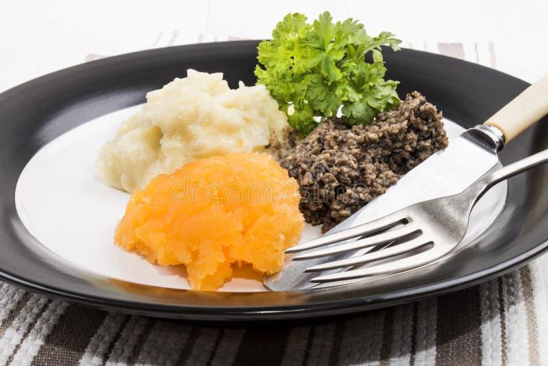 Refeição muito escocesa, haggis, sueco e batata triturada em uma placa imagens de stock royalty free