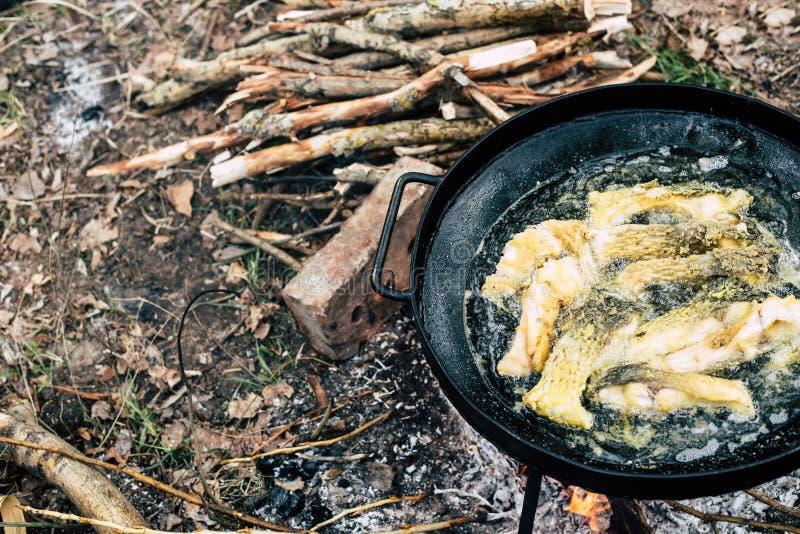 Refeição saudável no acampamento: os peixes fryed no frigideira chinesa preto filtram exterior imagem de stock royalty free
