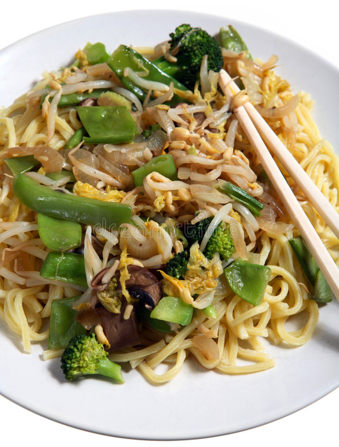 Refeição vegetal chinesa dos macarronetes do mein da comida fotografia de stock