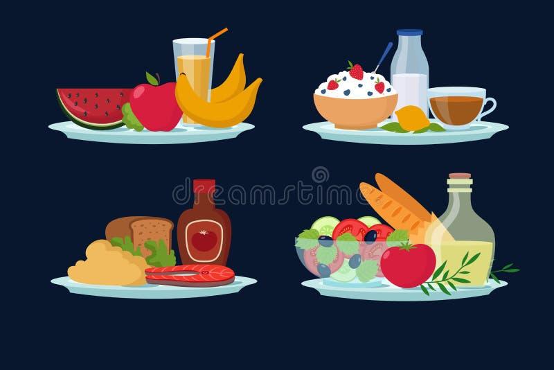 Refeições diárias da dieta, alimento saudável para o café da manhã, almoço, ícones do vetor dos desenhos animados do jantar ilustração stock