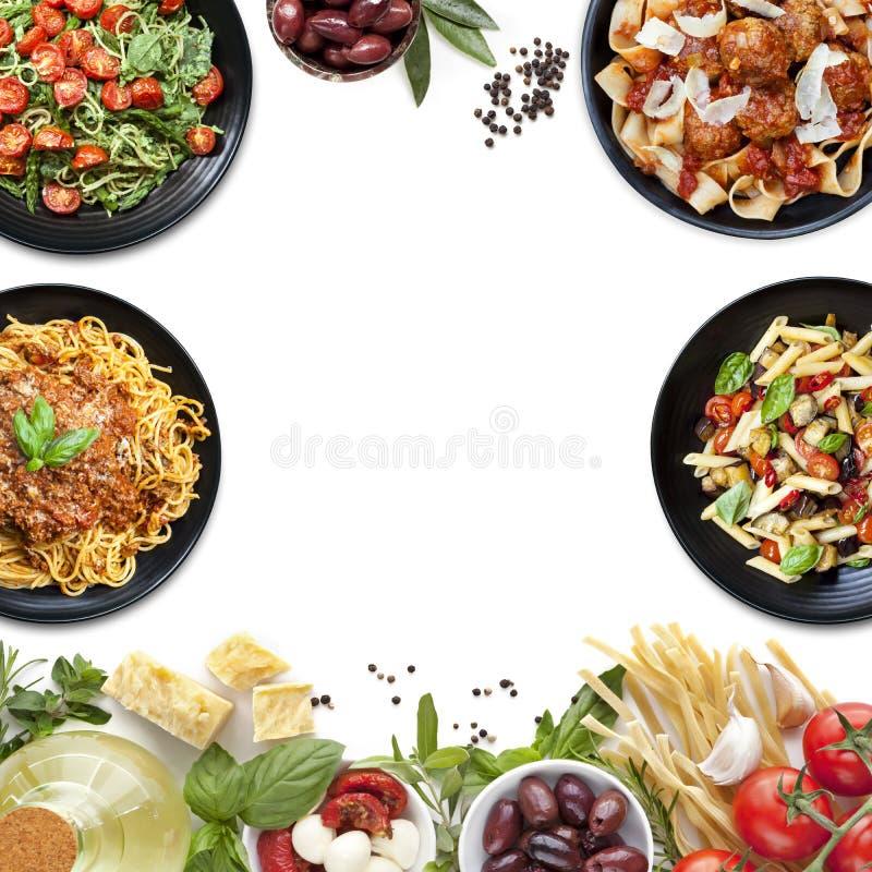 Refeições e ingredientes italianos da massa da colagem do alimento imagem de stock royalty free