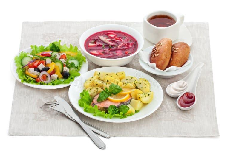Refeições tradicionais do jantar imagem de stock