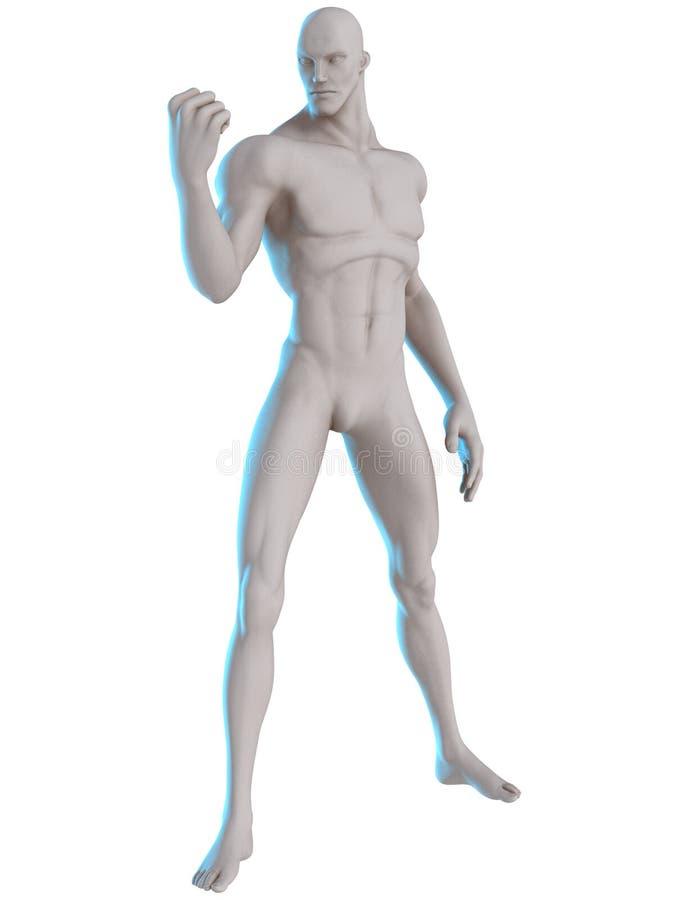 referência masculina da pose do herói 3D determinada ilustração stock