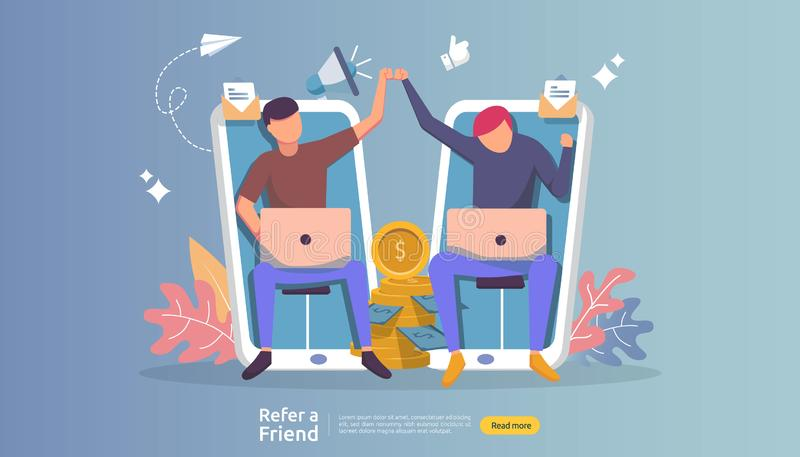 refer a friend affiliate partnership and earn money. marketing concept strategy. people character sharing referral business. vector illustration