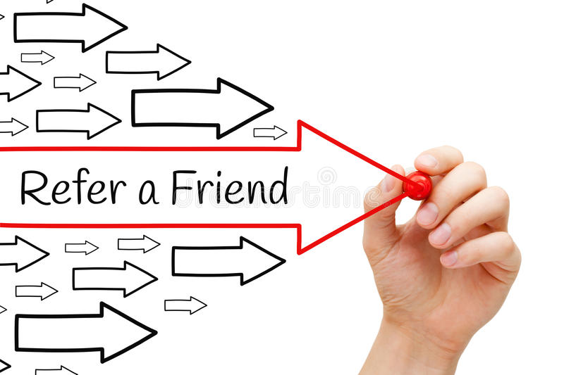 Refer a Friend Arrows Concept stock image
