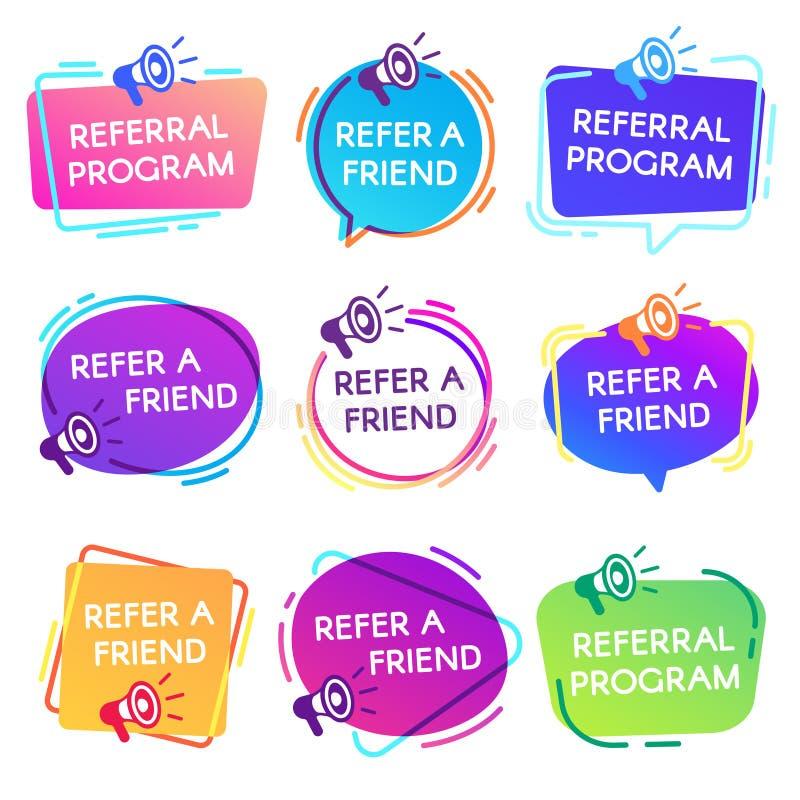 Refer friend badges. Referral program badge, salesperson megaphone marketing sticker and refer friends shopping label vector illustration