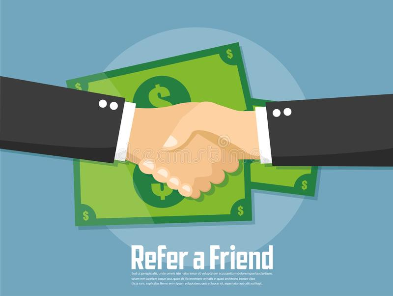 Refer a Friend Concept. Vector Illustration of hand sharing money. Vector illustration concept image icon royalty free illustration