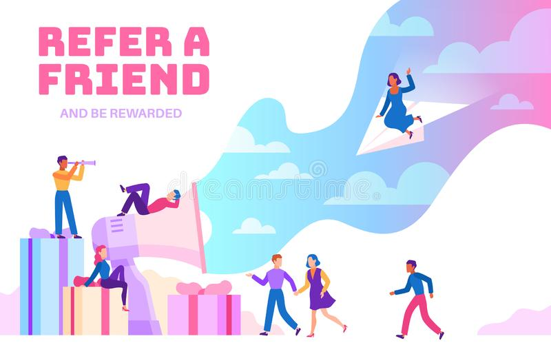 Refer a friend. Friendly people with megaphone referring new users. Business recommendation website. Flat vector stock illustration