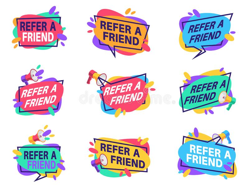 Refer friend labels. Referral program for marketing badges with loudspeaker. Friendly recommendation vector suggestion vector illustration