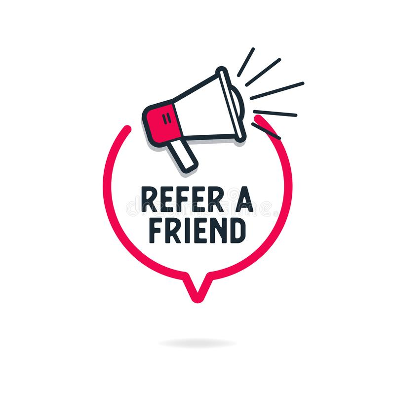 Refer a friend with loudspeaker in speech bubble. Vector stock illustration