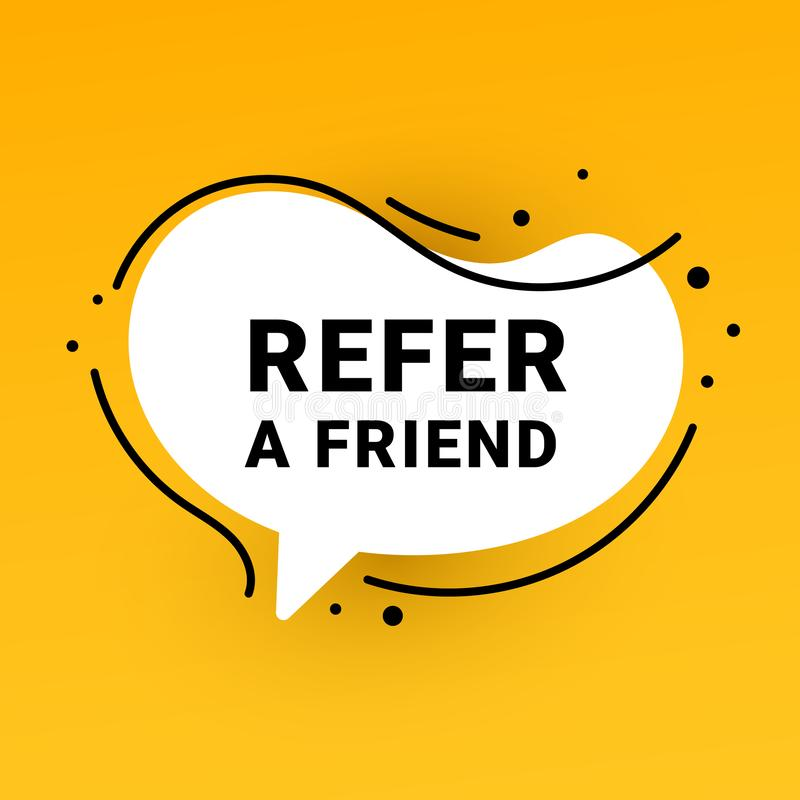 Refer a friend sticker and refer friends shopping label. Vector illustration for website, mobile app, poster, flyer, coupon, gift. Refer a friend banner vector illustration