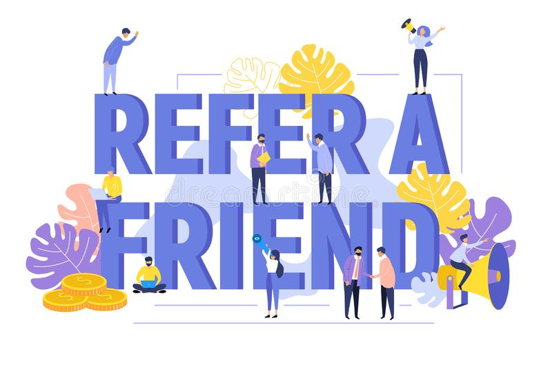 Refer a friend text concept background with people shouting in megaphone word vector illustration. Refer a friend text concept background with people shouting in royalty free illustration