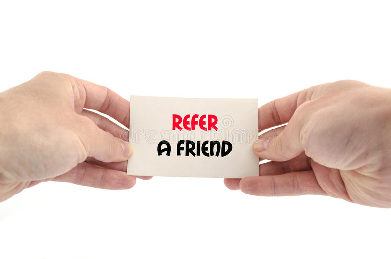 Refer a friend text concept stock photo