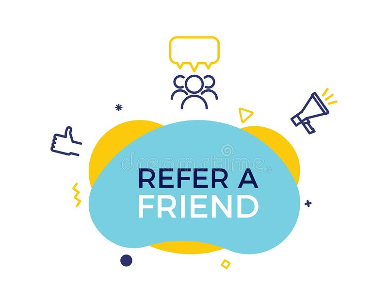 Refer a friend text on a fluid trendy shape with geometric elements. Vector design banner abstract shape with megaphone, thumbs up vector illustration
