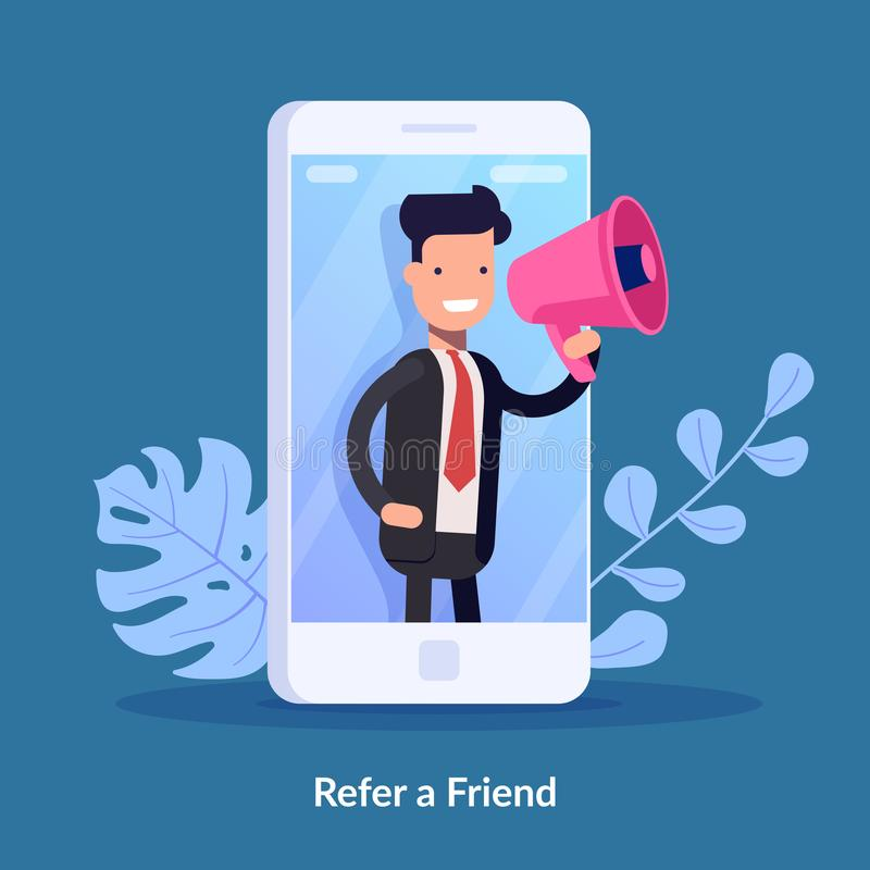 Refer a friend vector illustration concept. Digital business. People shout on megaphone with refer a friend word. Can vector illustration