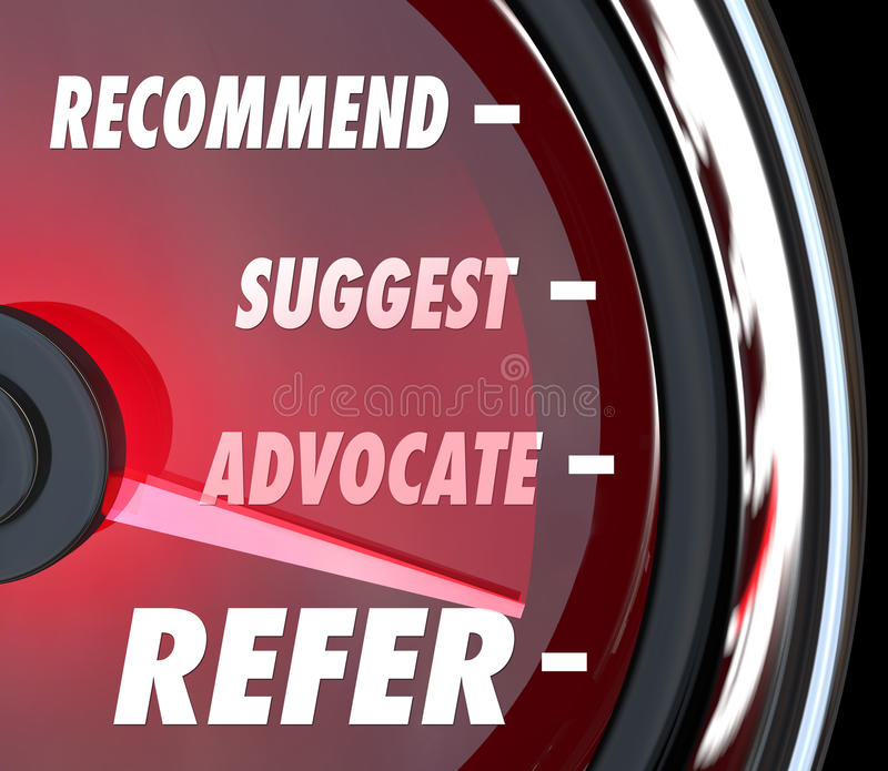 Refer Suggest Advocate Recommend Speedometer. Refer word on speedometer with needle racing past Recommend, Suggest and Advocate for attracting new customers royalty free illustration