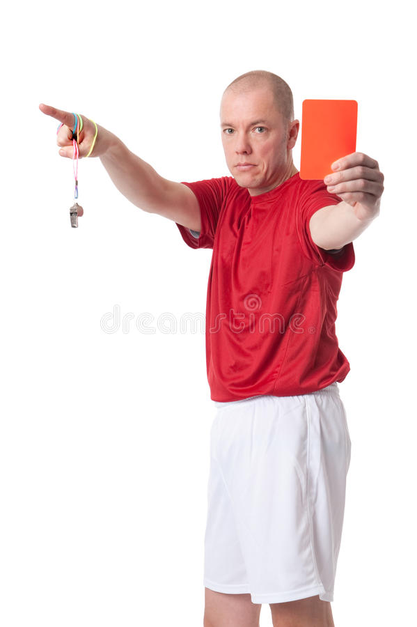 Referee. Full isolated studio picture from a young referee stock photos