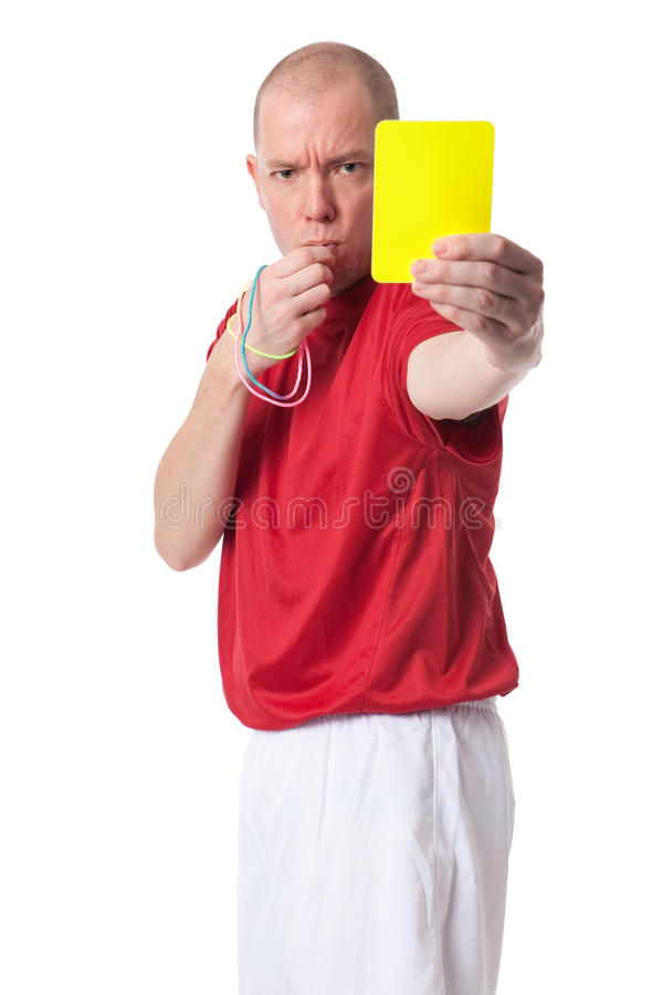 Referee. Full isolated studio picture from a young referee royalty free stock photo