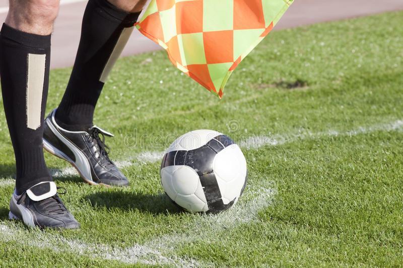 Referee. In corner with soccer ball royalty free stock photos