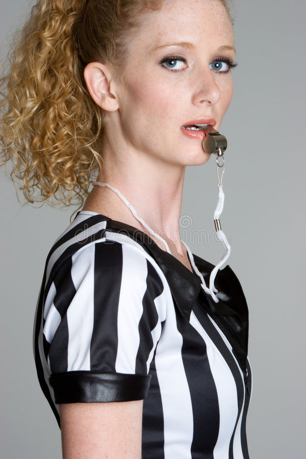 Download Referee Blowing Whistle stock photo. Image of women, freckles - 6238378