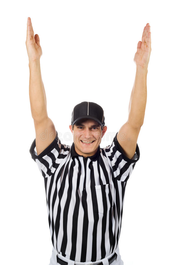 Referee football official signals a touchdown stock photo image - Referee Football Official Signals A Touchdown Stock Photo